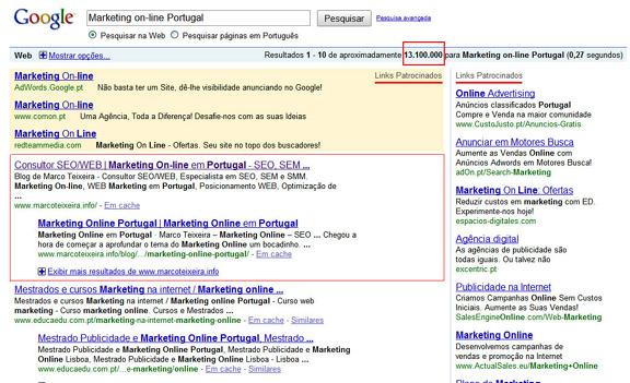 Posicionamento de páginas Web no primeiro lugar do Google