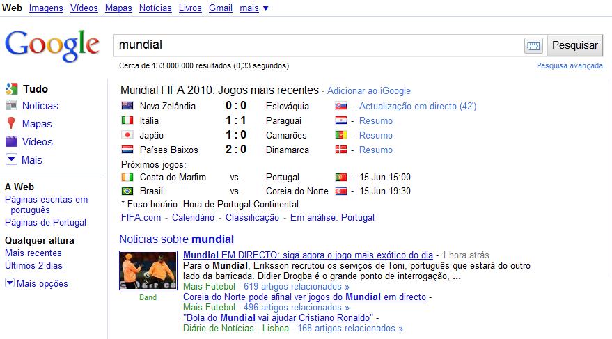 Mundial em Directo no Google