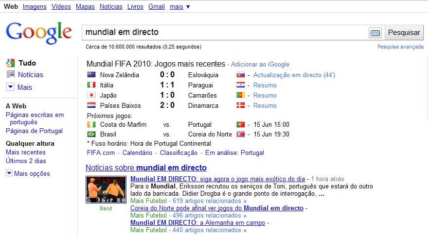 Jogos do Mundial em Directo… No Google!!